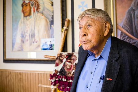 Earl Old Person, a Blackfeet Tribal Leader in his office in downtown Browning, Montana.