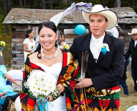 Blackfeet wedding ceremony of Shaw Momberg (32) and Heather Schildt (27) at a the Bison Creek Ranch outside of Browning, Montana on the Blackfeet Reservation on September 15, 2012.