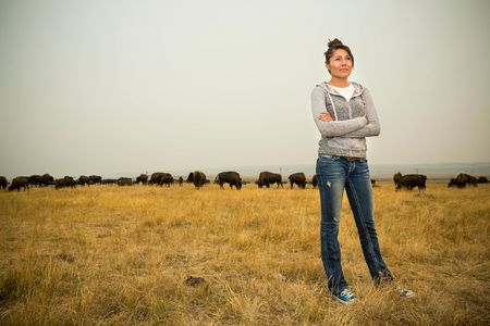 Kendall Edmo, Iinii Initiative Project Coordinator for the Blackfeet Tribe at the Bison Reserve in Browning, Montana