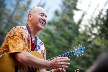 Musician and Blackfeet Cultural Spokesman Jack Gladstone performs at Glacier National Park's Two Medicine campground outside of the Blackfeet Reservation in NW Montana.