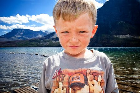 JJ, Age 6 goes fishing on St. Mary Lake